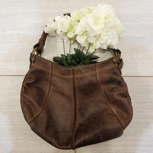 Brown leather hobo shoulder handbag gold hardware